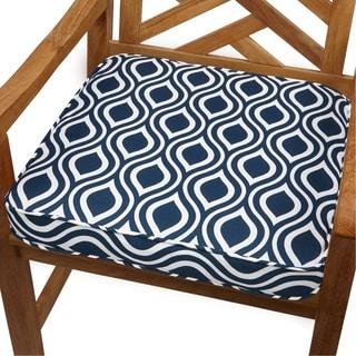 Wavy Stripe Navy 20-inch Indoor/ Outdoor Corded Chair Cushion