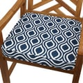 Wavy Stripe Navy 20-inch Indoor/ Outdoor Corded Chair Cushion