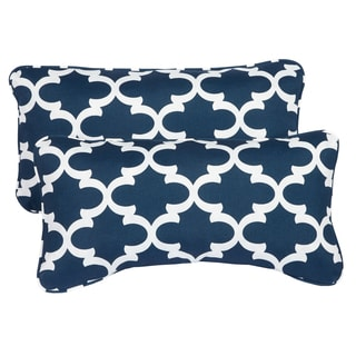 Scalloped Navy Corded 12 x 24 Inch Indoor/ Outdoor Lumbar Pillows (Set of 2)