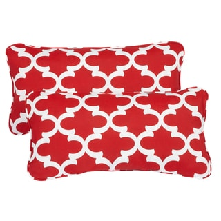 Scalloped Red Corded 12 x 24 Inch Indoor/ Outdoor Lumbar Pillows (Set of 2)