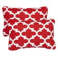 Scalloped Red Corded 13 x 20 inch Indoor/ Outdoor Throw Pillows (Set of 2)