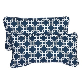 Knotted Navy Corded 12 x 24 Inch Indoor/ Outdoor Lumbar Pillows (Set of 2)