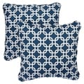 Knotted Navy Corded Indoor/ Outdoor Square Pillows (Set of 2)