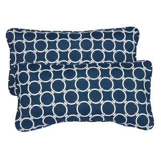 Links Navy Corded 12 x 24 Inch Indoor/ Outdoor Lumbar Pillows (Set of 2)