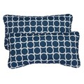 Links Navy Corded 12 x 24 Inch Indoor/ Outdoor Lumbar Pillows (Set of 2)