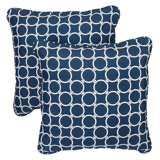 Links Navy Corded Indoor/ Outdoor Square Pillows (Set of 2)