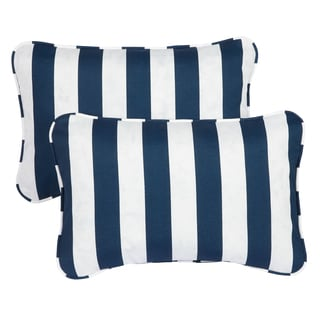 Striped Navy Corded 13 x 20 inch Indoor/ Outdoor Throw Pillows (Set of 2)