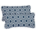 Wavy Navy Corded 12 x 24 Inch Indoor/ Outdoor Lumbar Pillows (Set of 2)