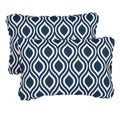 Wavy Navy Corded 13 x 20 inch Indoor/ Outdoor Throw Pillows (Set of 2)