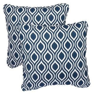 Wavy Navy Corded Indoor/ Outdoor Square Pillows (Set of 2)
