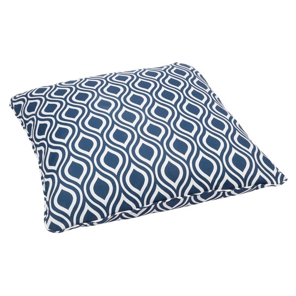 Wavy Navy Corded Outdoor/ Indoor Large 28-inch Floor Pillow