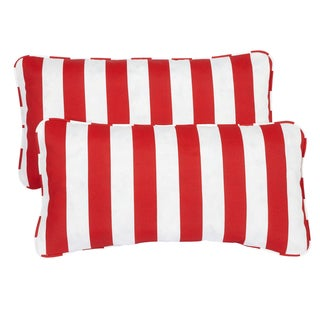 Striped Red Corded 12 x 24 Inch Indoor/ Outdoor Lumbar Pillows (Set of 2)