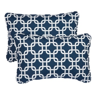 Knotted Navy Corded 13 x 20 inch Indoor/ Outdoor Throw Pillows (Set of 2)