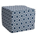 Brooklyn Wavy Navy 22-inch Square Indoor/ Outdoor Ottoman