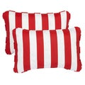Striped Red Corded 13 x 20 inch Indoor/ Outdoor Throw Pillows (Set of 2)