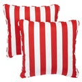 Striped Red Corded Indoor/ Outdoor Square Pillows (Set of 2)
