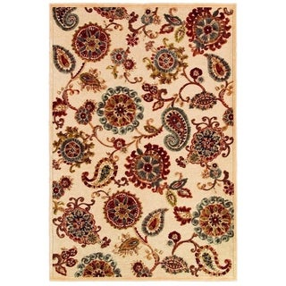 Cire Marlow Antique Cream/ Ruby Power-loomed Area Rug (5'3 x 7'6)