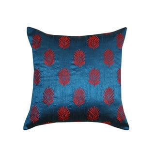 Blue and Red Henna Embroidered Throw Pillow (India)