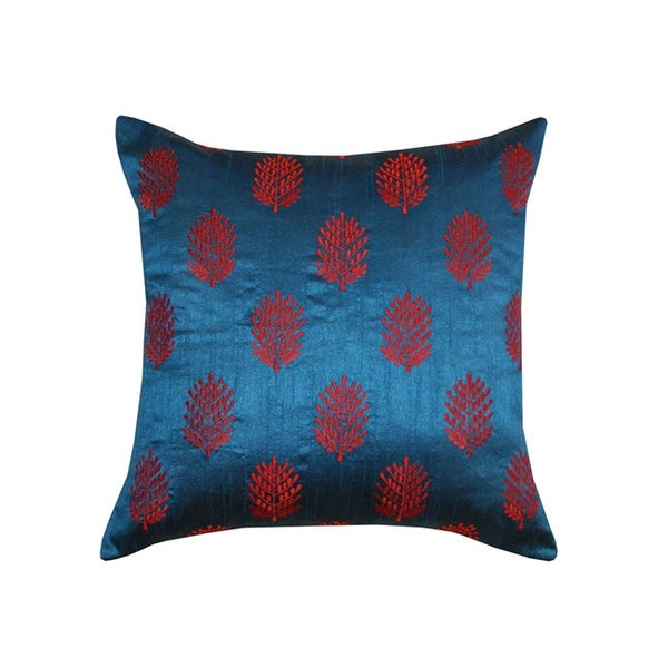 Blue and Red Henna Embroidered Throw Pillow (India) - 15770607 - Overstock.com Shopping - Great ...