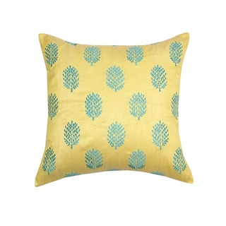 Yellow and Aqua Henna Embroidered Throw Pillow (India)