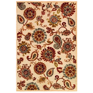 Cire Marlow Antique Cream/ Ruby Power-loomed Area Rug (7'10 x 11'2)