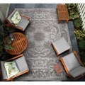 Dolce Messina/ Sky Blue-Grey Power Loomed Area Rug (5'3 x 7'6)
