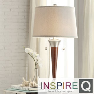 INSPIRE Q Kedzie Brushed Nickel Contoured Base 2-light Accent Table Lamp