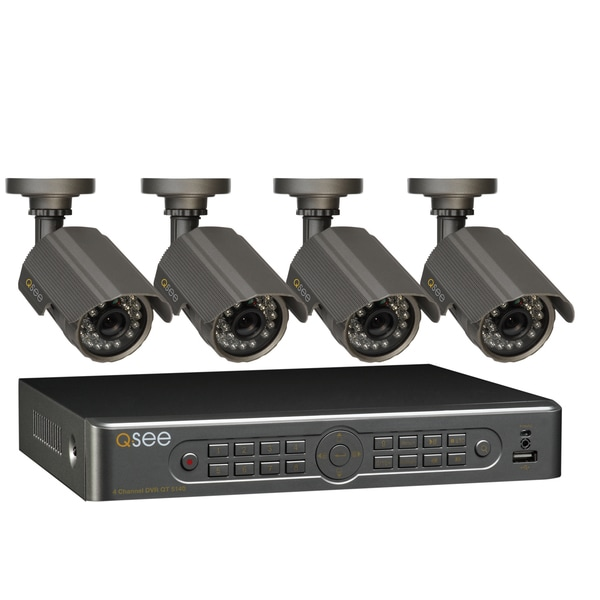 Q-See 4 Channel DVR Security Surveillance System 4 Cameras with 500GB HDD