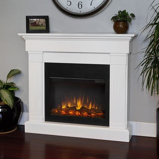 Crawford Real Flame Electric Fireplace-White