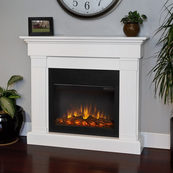 Crawford Slim Line Electric Fireplace White by Real Flame