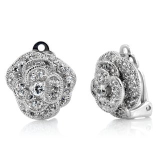 Sterling Silver Cubic Zirconia Pave Layered Flower Clip-on Earrings