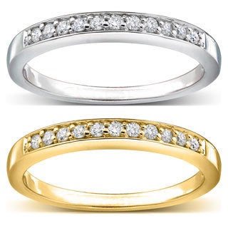 Annello 14k Gold 2 mm 1/10ct TDW Pave-set Diamond Band (H-I, I1-I2)