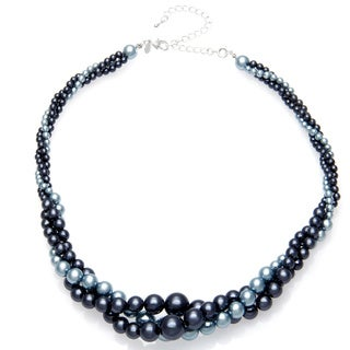 Roman Faux Pearl Blue Tonal Twist 18-inch Necklace