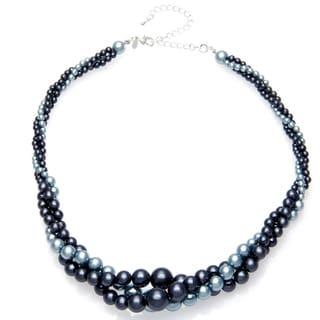 Roman Faux Pearl Blue Tonal Twist 18-inch Necklace