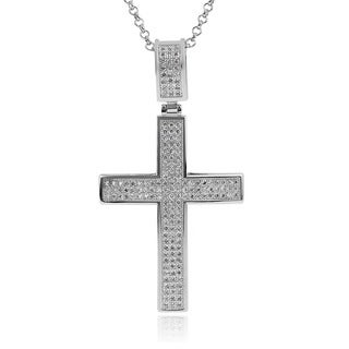 Journee Collection Brass Cubic Zirconia Cross Necklace