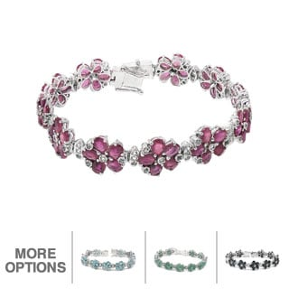 De Buman Sterling Silver Natural Ruby or Sapphire or Emerald or Blue Zircon Flower Bracelet
