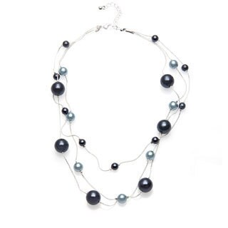 Roman Faux Blue Pearl 3-row 16-inch Necklace and Earring Set