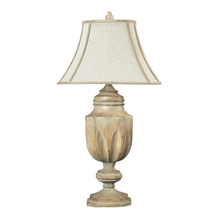 Dimond Lighting Bleached Wood-finish Table Lamp with Linen Shade