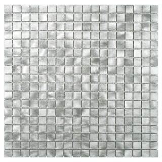 SomerTile Alumini 11.875x11.875 Mini Palladium Brushed Aluminum Mosaic Wall Tile (Pack of 10)