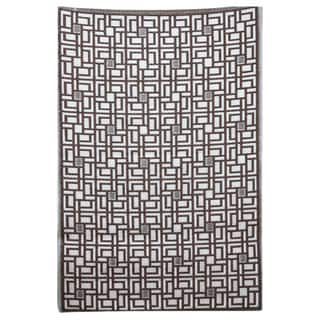 b.b.begonia Omega Reversible Design Brown and White Outdoor Mat (4' x 6')