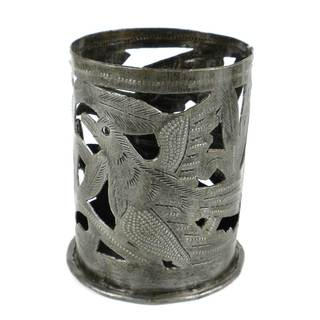Handmade Metal Art Candle Holder - Bird Design (Haiti)