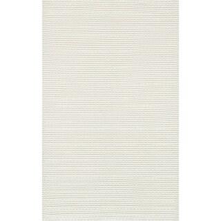 Hand Woven Rhythm White Wool Rug (7'6 x 9'6)