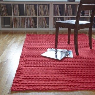 Hand Woven Rhythm Red Wool Rug (5'0 x 7'6)