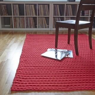 Hand Woven Rhythm Red Wool Rug (7'6 x 9'6)