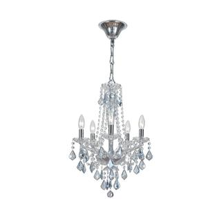 Simone 5-light Blue Crystal Chrome Mini Chandelier