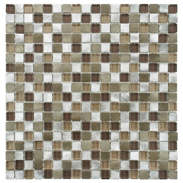 SomerTile Fuse Mini 11.875x11.875 Champagne Brushed Aluminum and Glass Mosaic Wall Tile (Pack of 10)