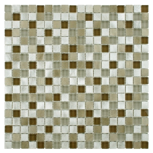 SomerTile Fuse Mini 11.875x11.875 Lorraine Brushed Aluminum and Glass Mosaic Wall Tile (Pack of 10)