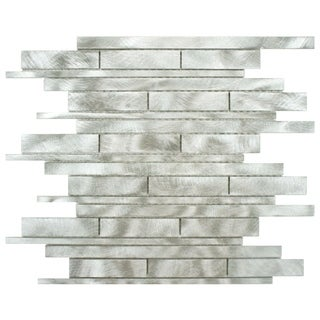 SomerTile 11.875x12.25-inch Linear Palladium Brushed Aluminum Mosaic Wall Tile (Case of 10)