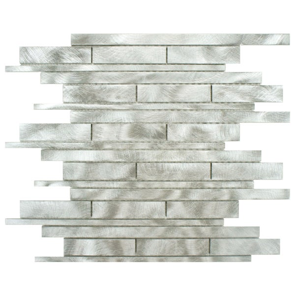SomerTile Alumini 11.875x12.25 Linear Palladium Brushed Aluminum Mosaic Wall Tile (Pack of 10)
