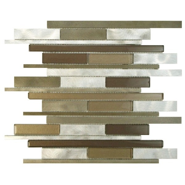 SomerTile Fuse Linear 11.875x12.25 Champagne Brushed Aluminum and Glass Mosaic Wall Tile (Pack of 10)